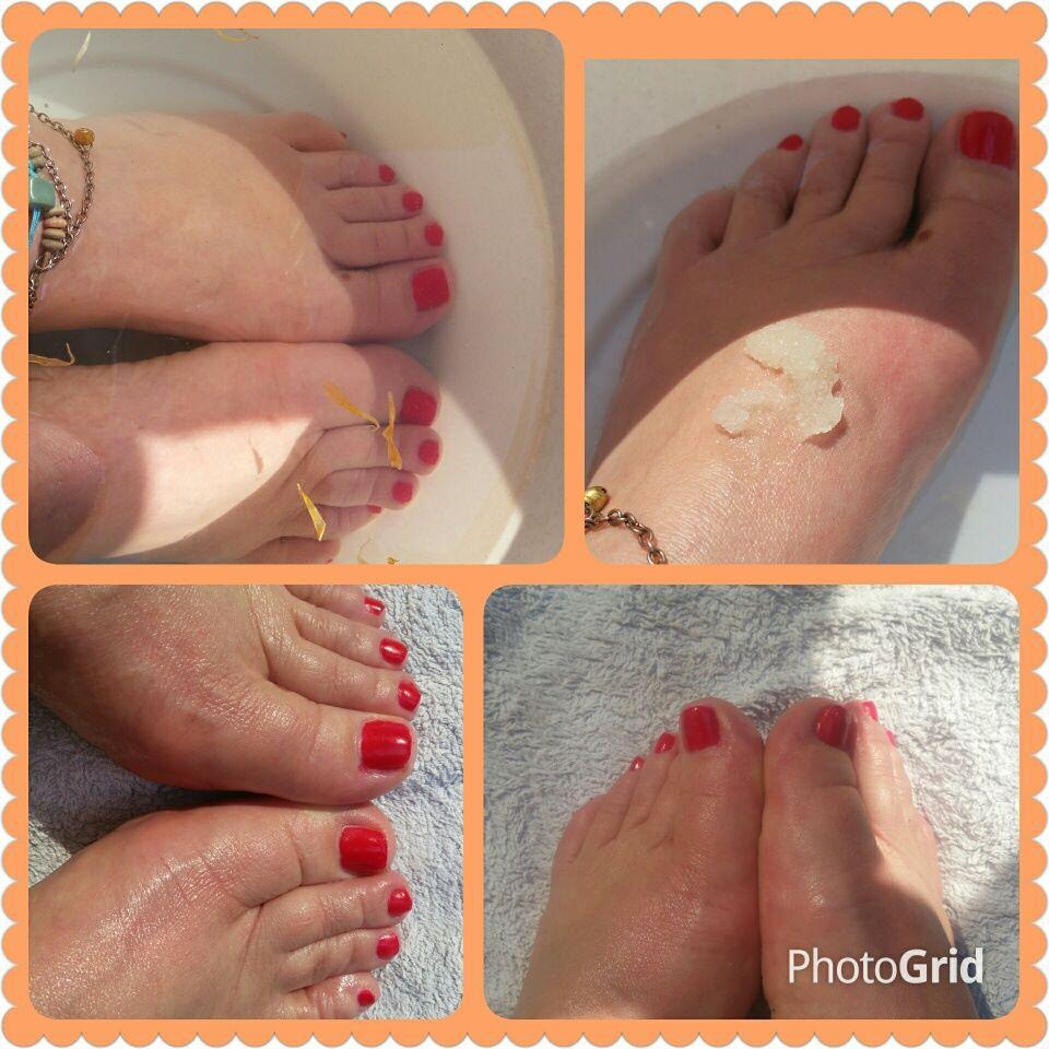 Verfrissend voetenbad en een fijne scrub-oliebehandeling met als resultaat gezonde voeten